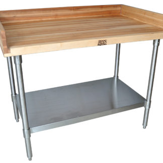 BK-resources MBTG-9636 Hard Maple Bakers Top Tables with Galvanized Base